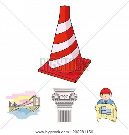 Column, master with drawing, bridge, index cone. Architecture set collection icons in cartoon style vector symbol stock illustration .
