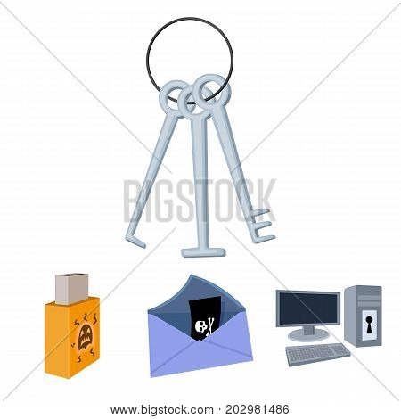 Virus, monitor, display, screen .Hackers and hacking set collection icons in cartoon style vector symbol stock illustration .