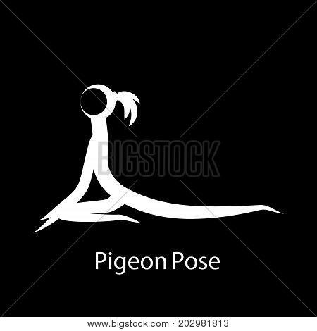 PigeonPose, Eka Pada Rajakapotasana. Yoga Position. Vector Silhouette Illustration. Vector graphic design or logo element for spa center, studio, class, center, poster. Yoga retreat. White