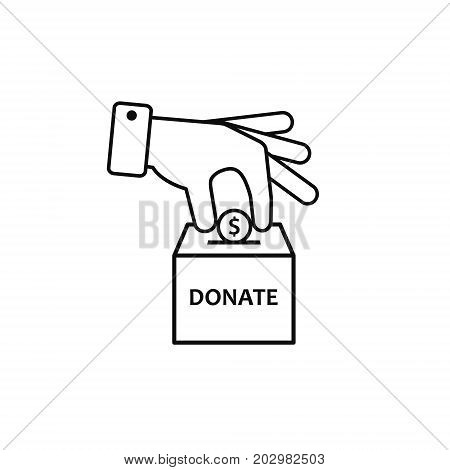 Hand putting coin in donation box illustration. Vector outline icon.