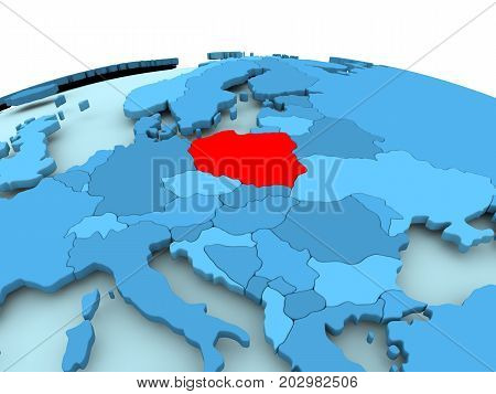 Poland On Blue Political Globe