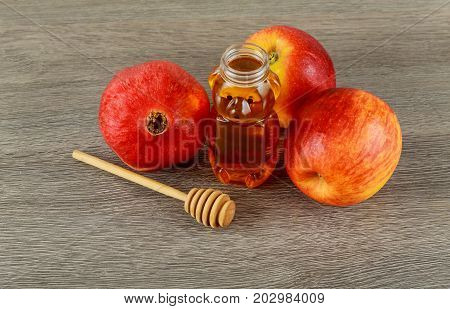Rosh Hashanah Jewish New Year Holiday Concept. Traditional Symbols.
