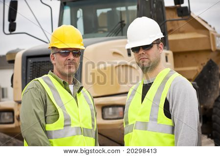 Rugged Male Construction Workers on the job poster