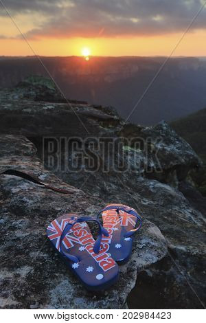 Aussie thongs depicting its Australian flag in the light of the sunset. Blue Mountains Australia