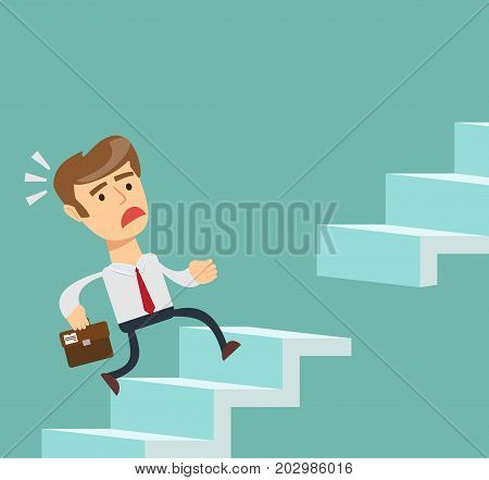 A businessman runs on the steps. Stock vector illustration for poster, greeting card, website, ad, business presentation, advertisement design.