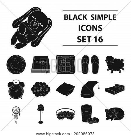Sleep and rest set icons in black design. Big collection of sleep and rest vector symbol stock illustration