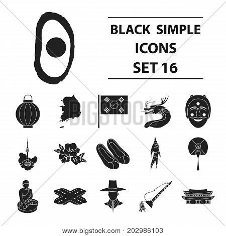 South Korea set icons in black style. Big collection South Korea vector symbol stock