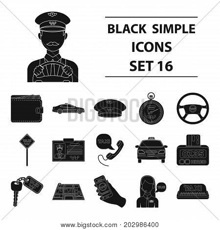 Parking, dispatcher, taxi driver are all for taxi service. Taxi set collection icons in black style vector symbol stock illustration.
