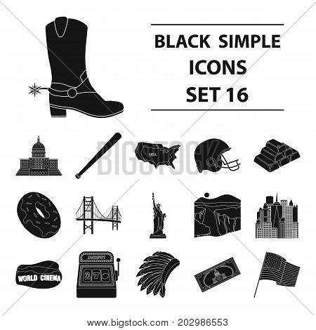 USA country set icons in black design. Big collection of USA country vector symbol stock illustration