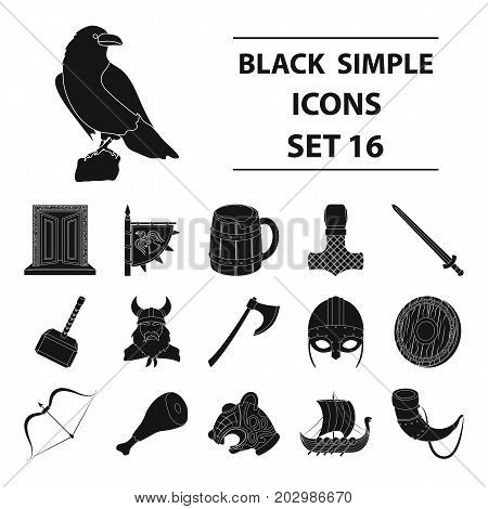 Vikings set icons in black design. Big collection of vikings vector symbol stock illustration
