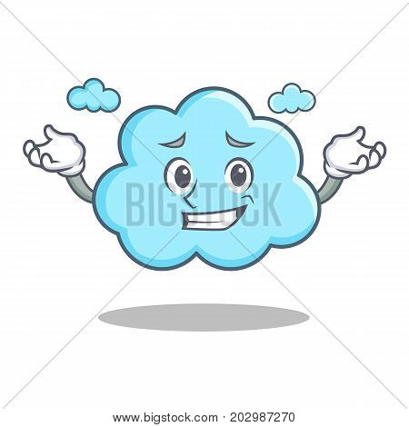 Grinning cute cloud character cartoon vector illustration