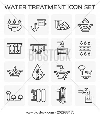Vector line icon of water treatment system and water filter .