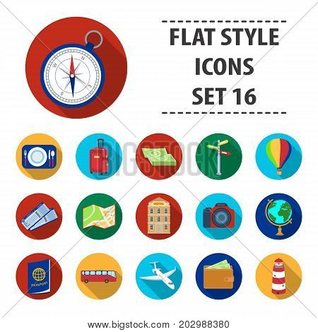 Rest and travel set icons in flat design. Big collection of rest and travel vector symbol stock illustration