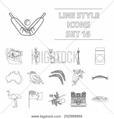 Australia set icons in outline design. Big collection of Australia vector symbol stock illustration