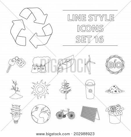 Bio and ecology set icons in outline design. Big collection of bio and ecology vector symbol stock illustration