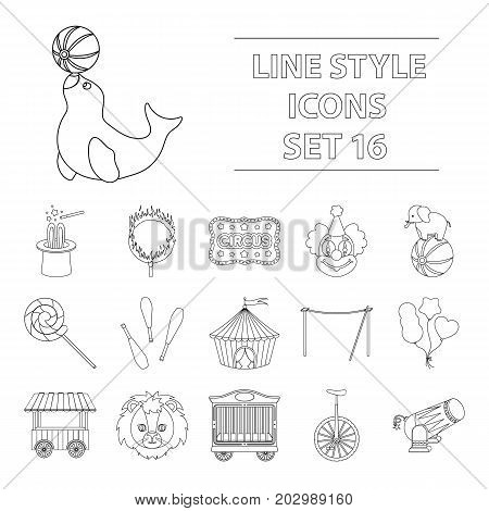 Circus set icons in outline style. Big collection of circus vector symbol stock