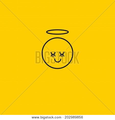 Emoticon emoji smiley isolated. Angel with halo is linear. Vector illustration