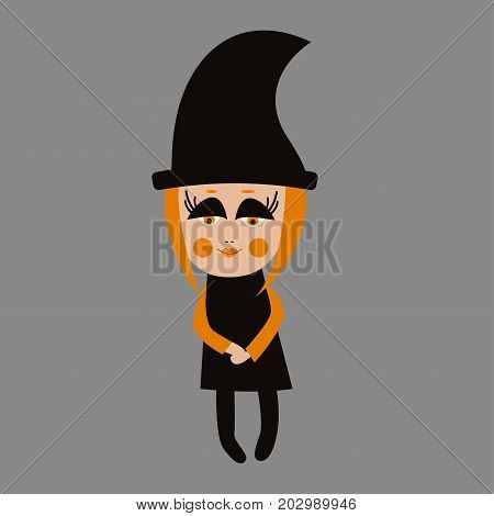 Little cutekind sweet character baby girl witch in black hat and dress. Girly illustration for Halloween. Vector graphics