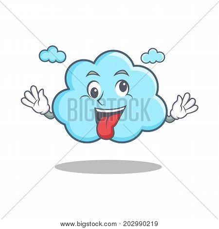 Crazy cute cloud character cartoon vector illustration
