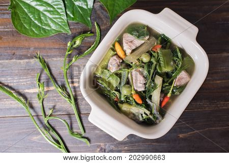 Thai Northern food (Kaeng Khae with pork),curry is made mainly with vegetables and herbs, Main ingredients is Piper sarmentosum leaves,Healthy food