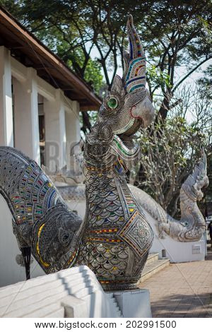 Two Serpent decorated on staircase in Chiang Mai