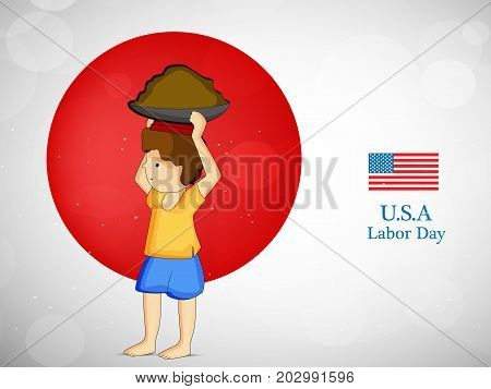 illustration of worker and USA flag with U.S.A Labor Day text on the occasion of Labor Day