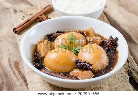 Asian food,hard-boiled egg in brown sauce or sweet gravy,Golden brown egg,Five spices egg,A kind of Chinese dish, In Thai call Khai Palo