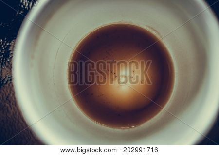 Closeup Of Empty Of Coffee Cup With Coffee Stains. Vintage Tone.