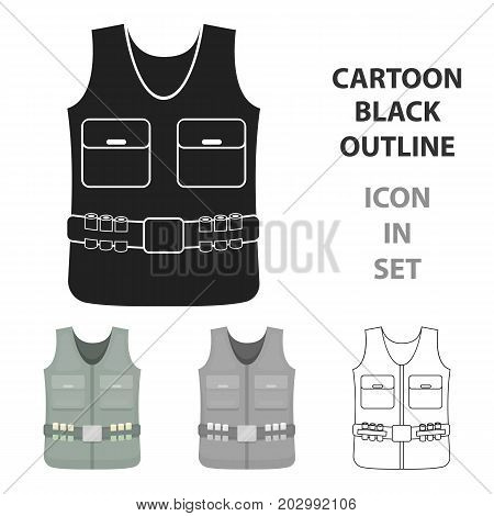 Hunting vest icon in cartoon style isolated on white background. Hunting symbol vector illustration.