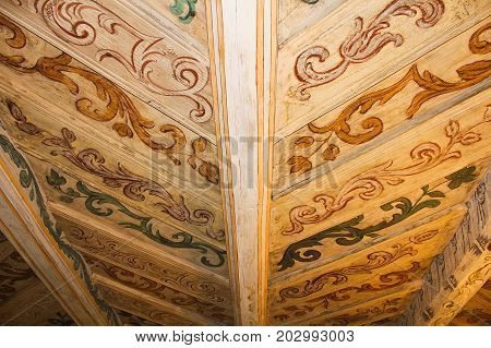 Old Wooden Handly Painted Celling, Detailed Photo
