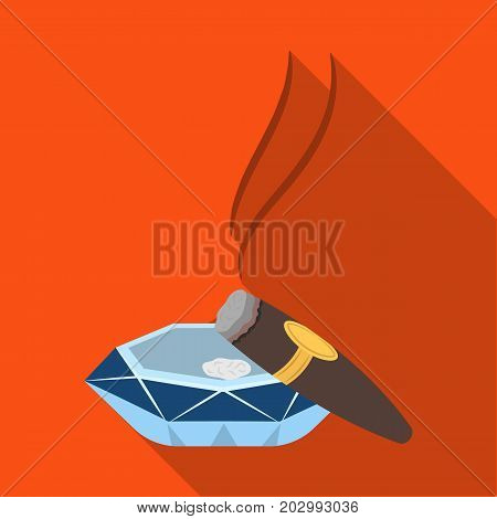 A smoking cigar in an ashtray. Smoking cigars single icon in flat style vector symbol stock illustration .