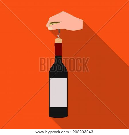 Opening the bottle with a corkscrew. Manipulation with a corkscrew single icon in flat style vector symbol stock illustration .