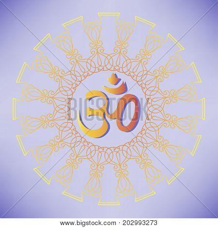 Diwali Ohm symbol with mandala. Isolated on background. Vector