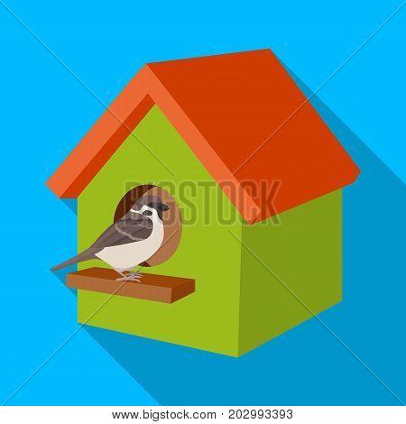 Birdhouse, single icon in flat style.Birdhouse, vector symbol stock illustration .