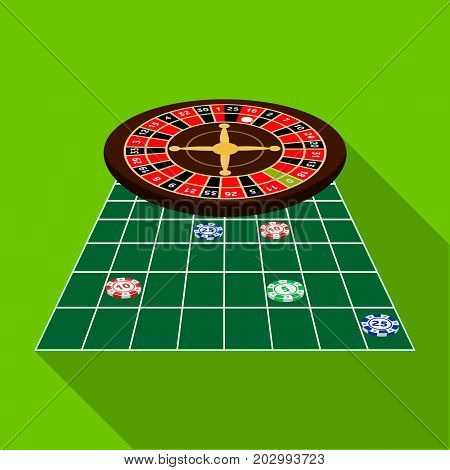 Roulette, single icon in flat style.Roulette, vector symbol stock illustration .