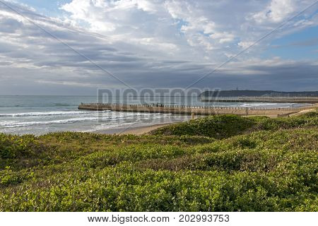 Coastal Landscape Dune Vegetation Beach Sea Against Cloudy Sky