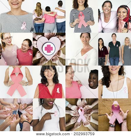 Group of Diverse People with Pink Represent Ribbon Breast Cancer Awareness Studio Collage