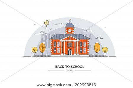 School building. Internet banner for education. Autumn landscape. Vector illustration on a white background