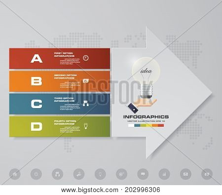 Abstract 4 steps infographics elements with arrow shape elements.Vector illustration. Align in horizontal dimension. EPS10.