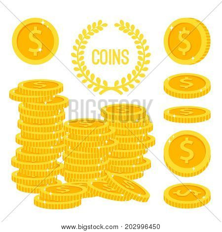 Coins stacks and money gold cash pile isolated on white background. Dollar coin finance heap vector illustration