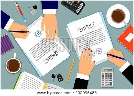Signing contract or shipping document vector illustration. Businessman hands signing paper documents on desk