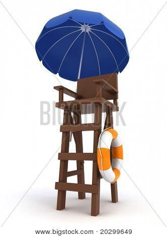 3D Illustration of a Lifeguard Post