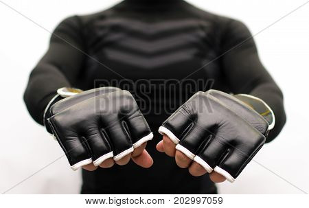 Fist to fist fighting greetings.Fighter reaches out his fists to his opponent fighting mutual respect concept.