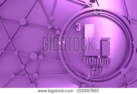 Lithium chemical element. Sign with atomic number and atomic weight. Chemical element of periodic table. Molecule And Communication Background. Chrome metallic material. 3D rendering.