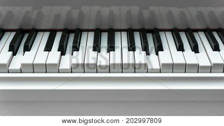 Pressed Piano keyboard background with selected focus - narrow depth of field.