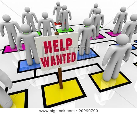 An empty square in an organizational chart with a sign reading Help Wanted, symbolizing the need for a company to hire a new employee and the desire for an unemployed person to find work