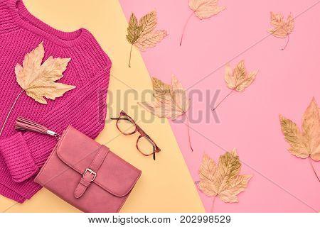 Autumn Arrives. Fashion Lady Clothes Set. Trendy Cozy Knit Jumper. Fashion Stylish Handbag Clutch, Vintage Glasses. Fall autumn Leaves. Vanilla Pastel colors.