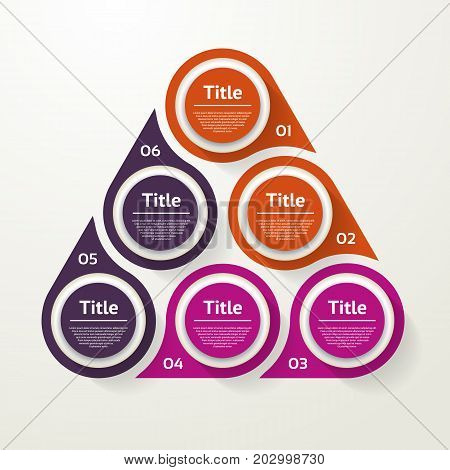 Vector circle infographic. Template for cycle diagram graph presentation and round chart. Business concept with 6 options parts steps or processes. Abstract background.