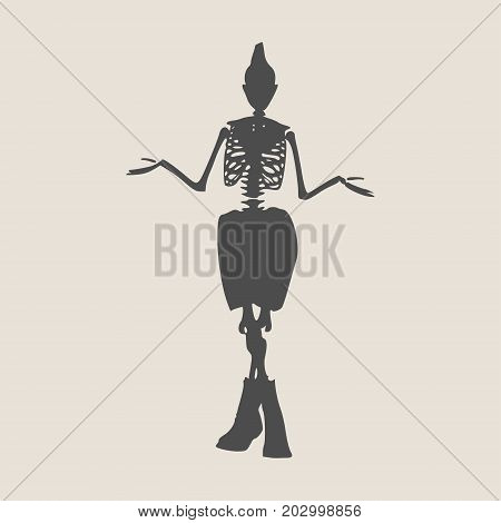 Confused and frowned skeleton standing shrugging shoulders complaining expressing anger and frustration yelling gesturing with his hands. Flat style vector illustration