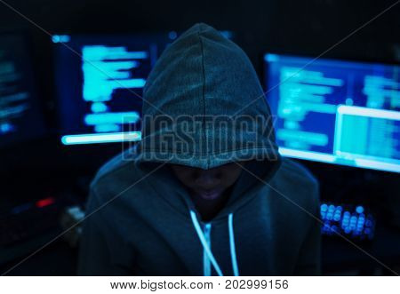Hacker with computer background